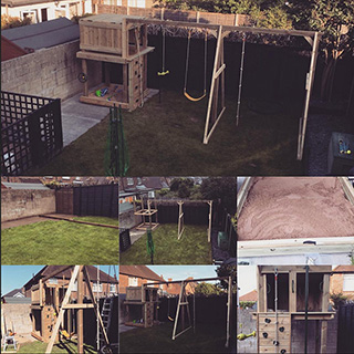 Designed and constructed timber climbing frame